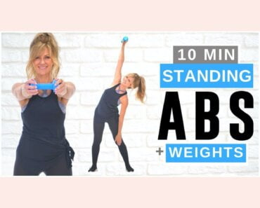10 Minute STANDING ABS Workout With Dumbbell Weights For Women!